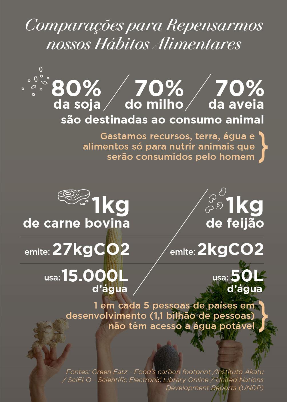 Infográfico com algumas Comparações para Repensarmos nossos Hábitos Alimentares