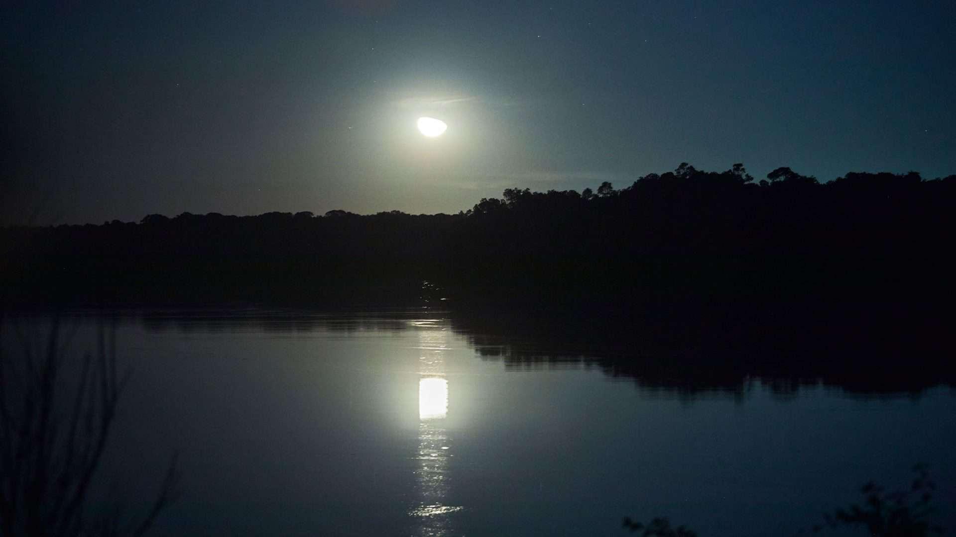 Anoitecer em paisagem da Amazônia, luz da lua reflete sobre as águas do rio. Foto: Loiro Cunha