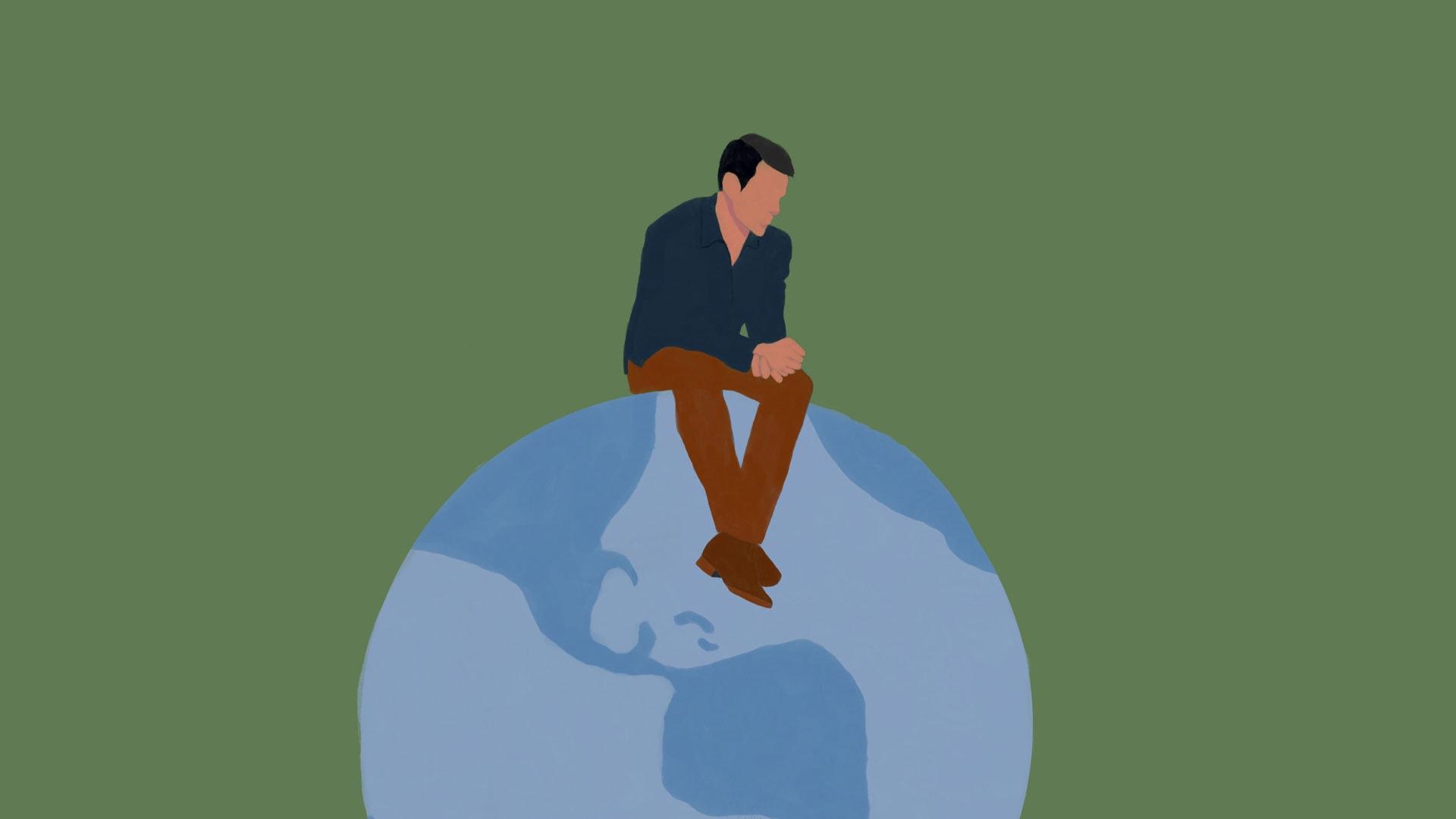 Ilustração com um homem branco sentado sobre o mundo