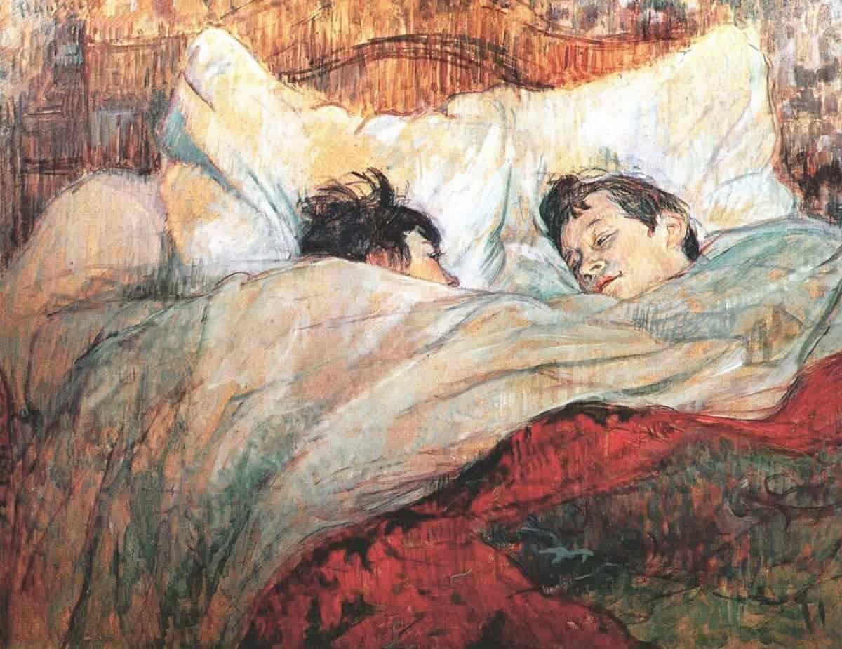 Pintura com casal deitado na cama