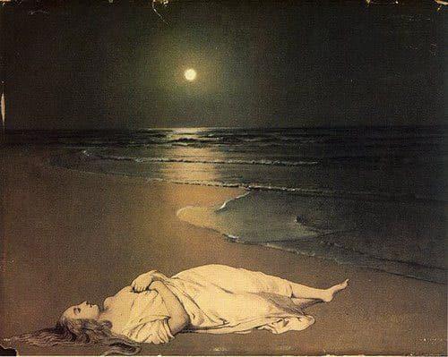 Pintura com mulher deitada em uma praia com a Lua