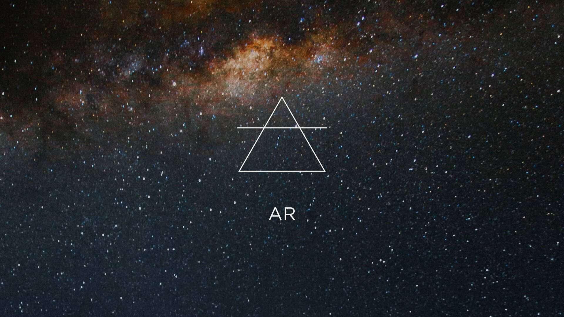Céu estrelado do cosmos e o símbolo do elemento Ar
