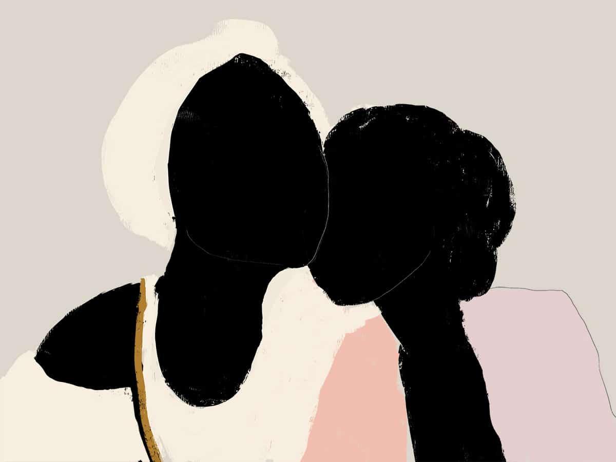 Ilustração de mulheres negras conversando