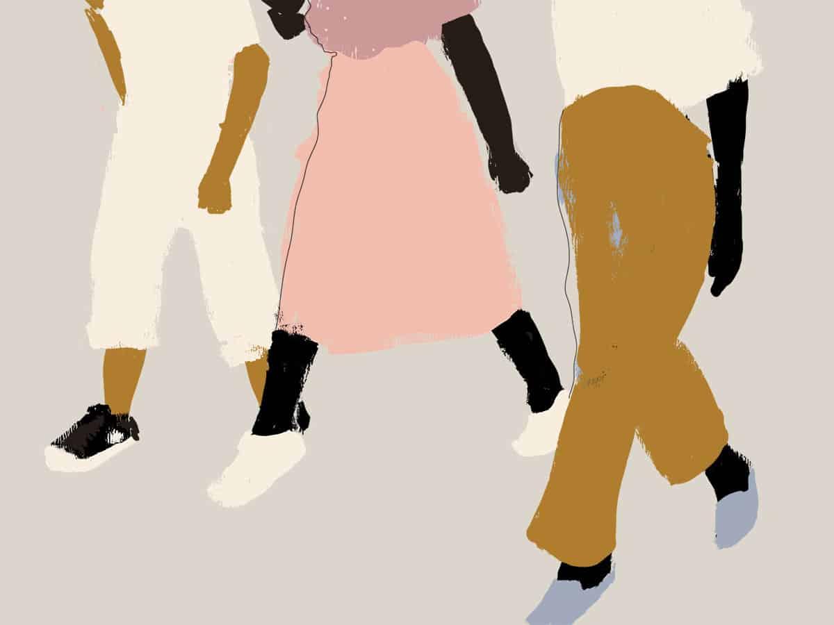 Ilustração de mulheres negras marchando
