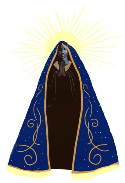 Ilustração da imagem da Nossa Senhora Aparecida, com raios de sol emoldurando sua cabeça