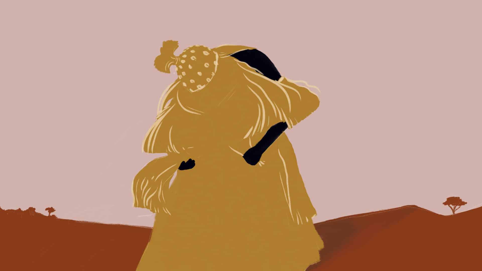 Ilustração de Omolu, entidade de origem africana que tem o corpo coberto de palha