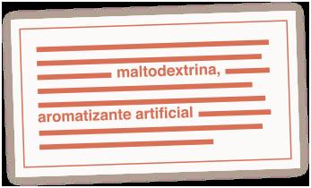 Ilustração de rótulo com detalhe em ingredientes ultraprocessados